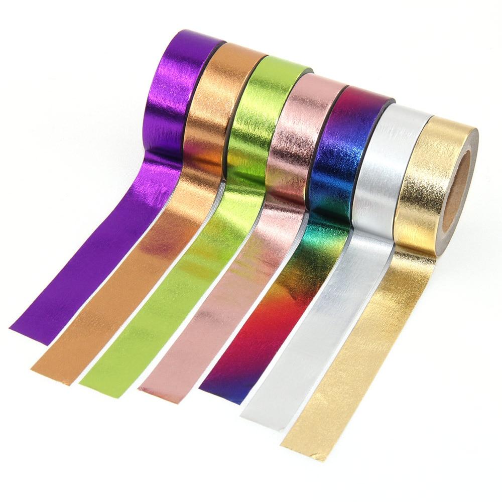 1 Uds. Cinta adhesiva bonita de papel de aluminio de Color sólido Kawaii para decoración del hogar envío gratis