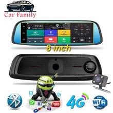 "8 ""4G ADAS Radar Android araba dvr'ı dokunmatik Dash kam araba dikiz aynası Dash kamera çift lens GPS navigasyon Wifi Bluetooth"