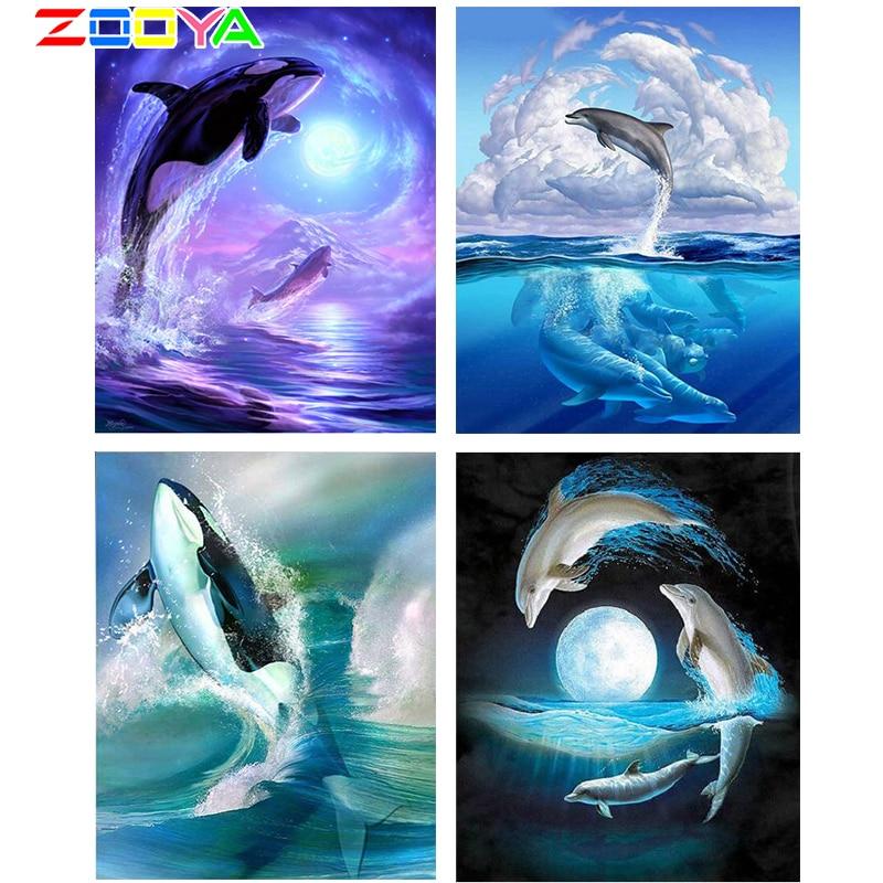 Cuadro Completo cuadrado/redondo 5D pintura de diamante Animal ballena Marina nuevo bordado de diamantes en forma de 3D arte mosaico decoración del hogar Lx55