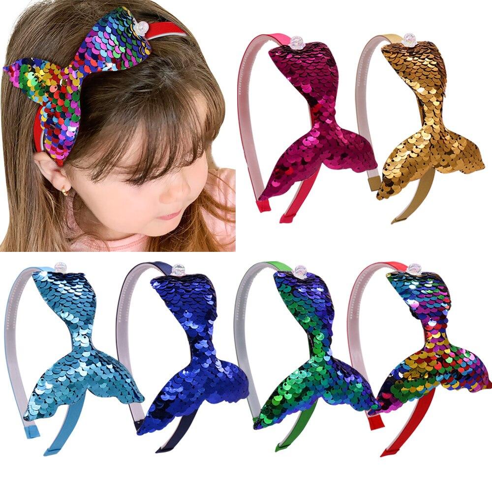 8 pçs/lote Lantejoulas Faixa de Cabelo Para Meninas Sereia Pérolas Headbands Handmade Coréia Hoop Cabelo Crianças Acessórios de Cabelo Da Moda