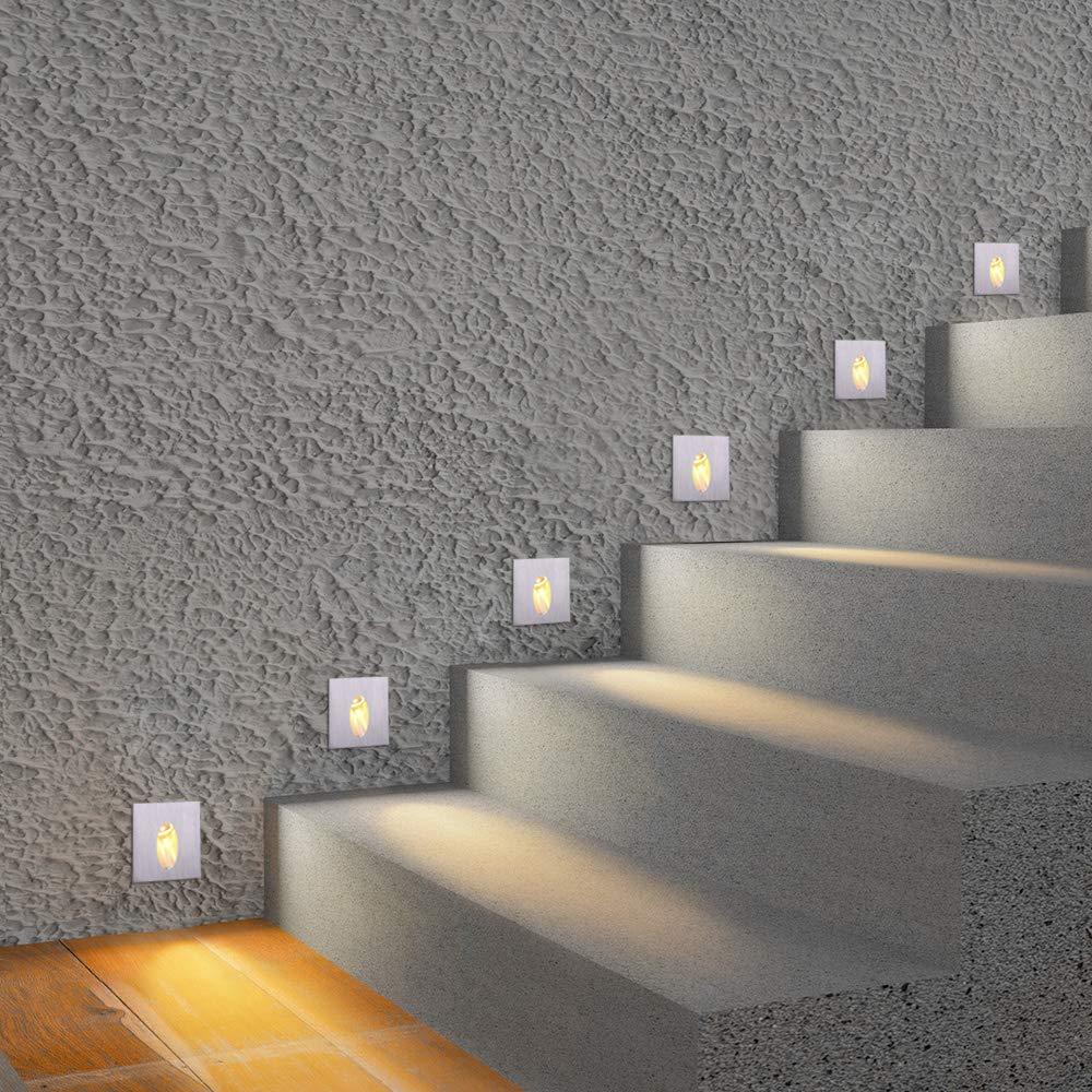 Luz Led interior de pared con forma de escalera Esquina de pared de la lámpara 3W empotrada pie luminoso escalera corredor paso iluminado de aluminio lámpara de pared