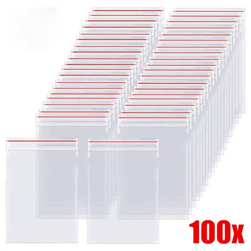 AliExpress - 100pcs Resealable Zip Lock Bags Self Seal Clear Plastic Poly Bag Food Storage Package Reclosable Vacuum Fresh Packing Bag