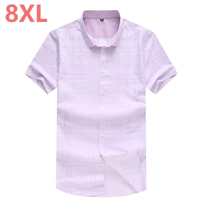 10XL 8XL 7XL 6XL جديد زائد حجم الذكور قصيرة الأكمام قميص جديد الصيف إضافة الأسمدة زيادة الرجال قصيرة الأكمام قميص