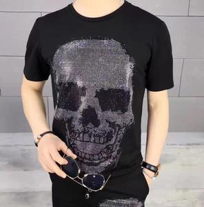 England Style Tshirt Man Diamond Short Sleeve T-shirt Men's fashion Summer Rhinestone  Design Bottom T Shirts