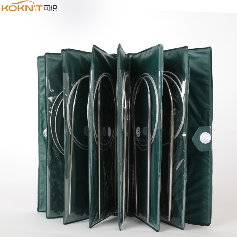 11Sizes Stainless Steel Circular Knitting Needles Kit Yarn Weave DIY Knitting Needles Hooks Set with Bag 43cm 65cm 80cm Length