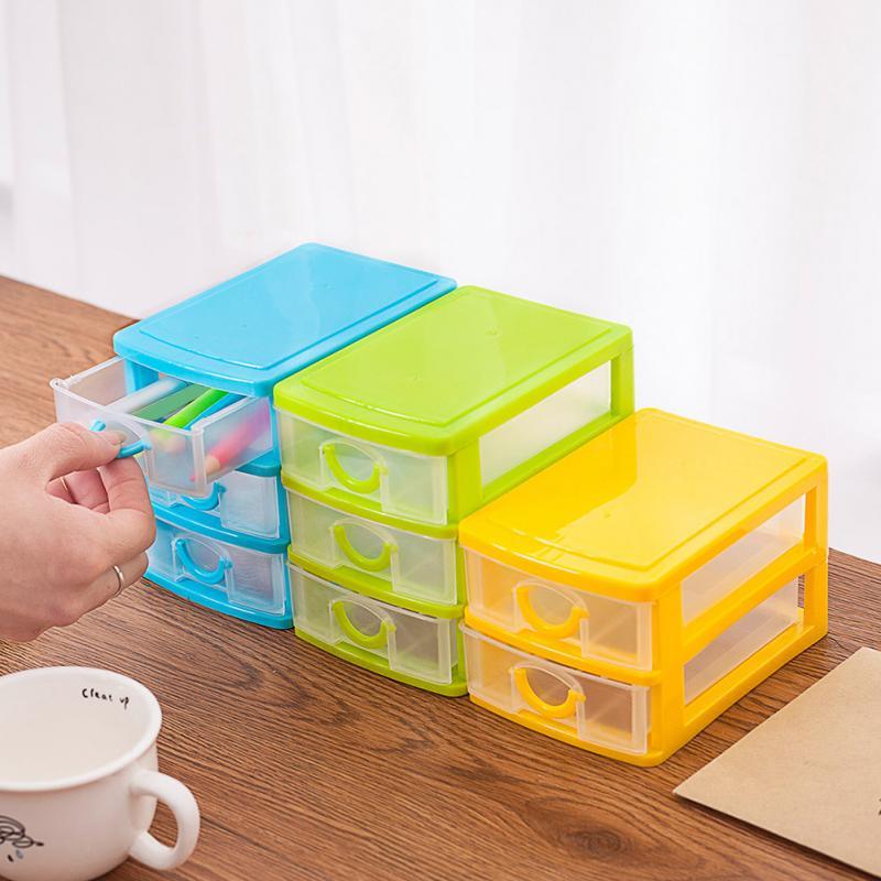 Práctico plástico Mini cajón de almacenamiento pequeño caja de almacenamiento de escritorio transparente soporte organizador de joyas gabinetes organizador estuche