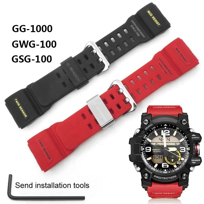 Correa de reloj para GG-1000 GWG-100, GSG-100 de Gel de sílice, resistente al agua, repuesto de correa de reloj, accesorios con herramientas