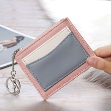 New Women's Short Color Stitching Ultra-Thin Zipper with Key Ring Wallet