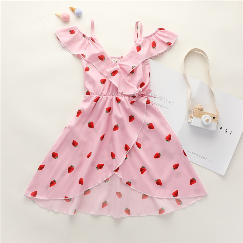 Summer One-piece Clothing Toddler Baby Girl's Dress V-neck High Waist  Strawberry Printing Sleeveless Irregular Dress 2-7Y