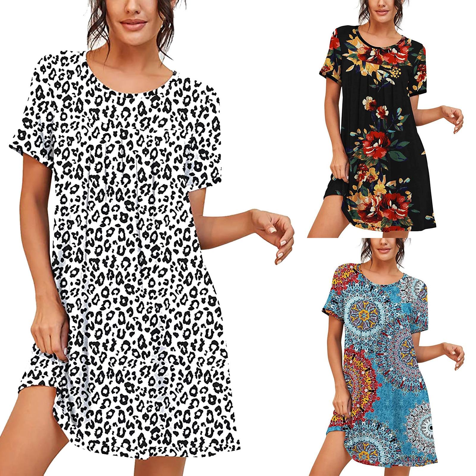 Women's dress home color matching large size round neck irregular short-sleeved dress V-neck short-sleeved платье женское 40*