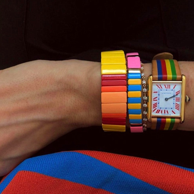Venda quente nova empilhamento esmalte cor unissex pulseiras de moda colorida pulseiras para homens liga de cobre esporte pulseira femme 2019