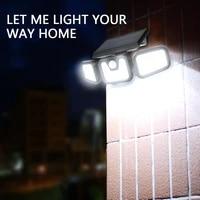outdoor solar lights 100 cob led motion sensor light 3 head remote control wall light wide angle flood light for garden