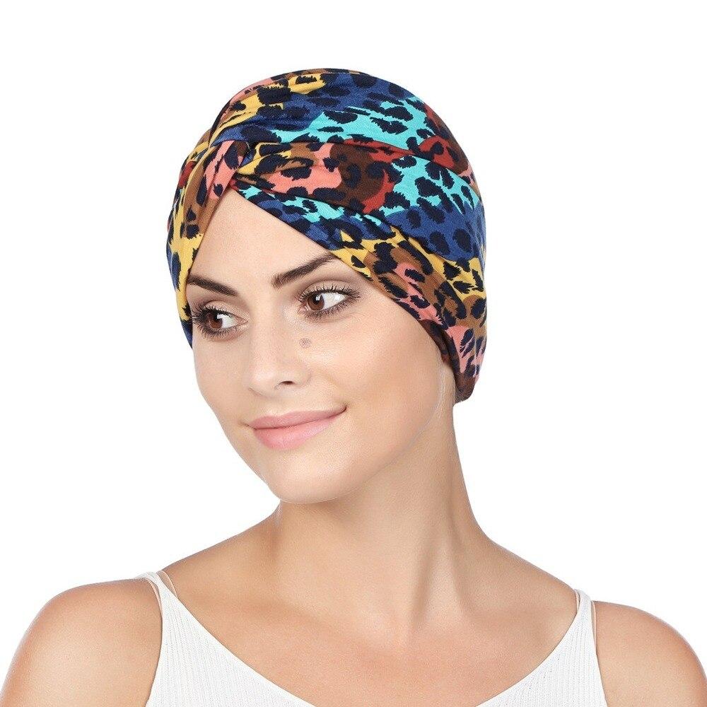 Helisopus New Women Leopard Print Knot Cancer Ruffle Chemo Hat Muslim Elastic Beanie Chemo Caps Bandanas Hair Accessories