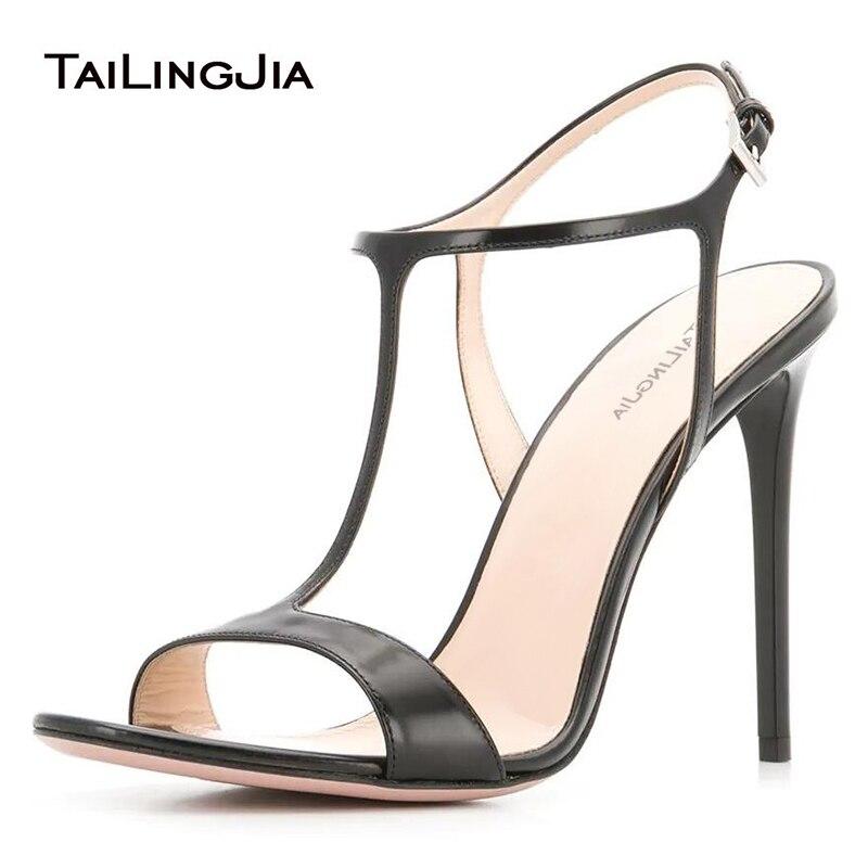 Sandalias con tiras en forma de T para mujer 2019 tacones altos negros zapatos de vestido de boda blancos elegantes sandalias de verano para mujer calzado