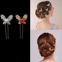 3 pçs nova noiva ouro prata pérola borboleta pino de cabelo vestido de casamento traje cocar u em forma hairpin casamento decoração do cabelo