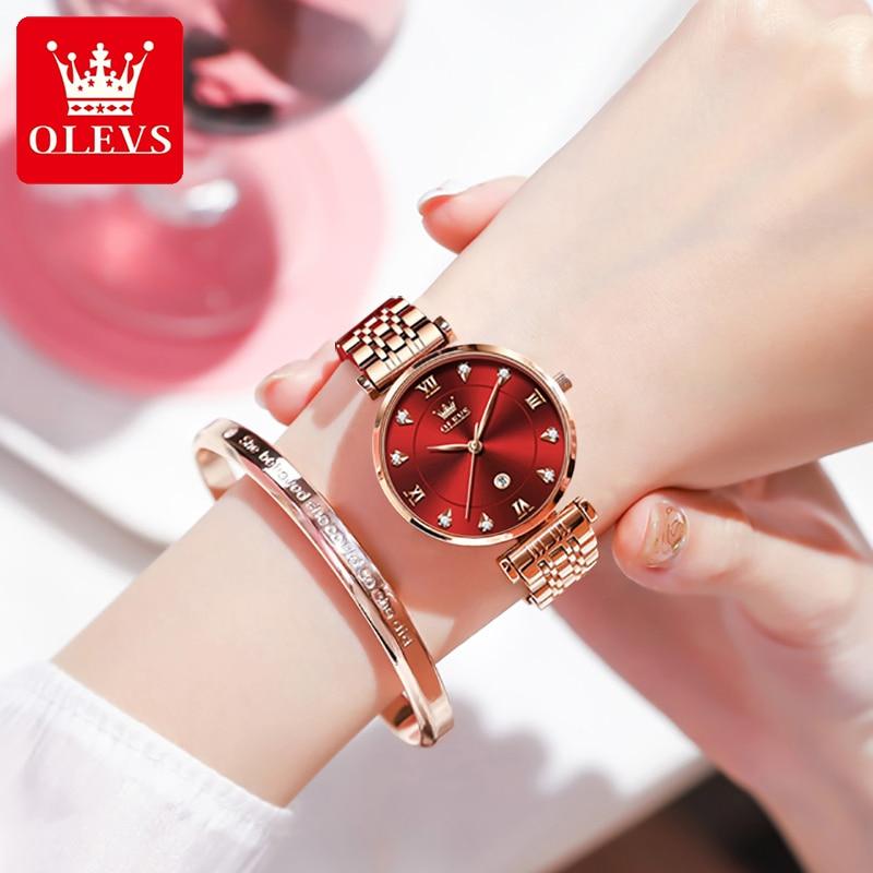 OLEVS Women's Watches Luxury Rose Gold Stainless Ladies Watch Calendar Waterproof Quartz Wrist Watch