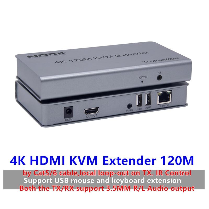 KVM HDMI 4K USB تمديد الماوس/لوحة المفاتيح كابل الشبكة ، 120 متر بواسطة Cat/RJ45/LAN/UTP ، التحكم بالأشعة تحت الحمراء ، TX/RX 3.5 مللي متر R/L إخراج الصوت
