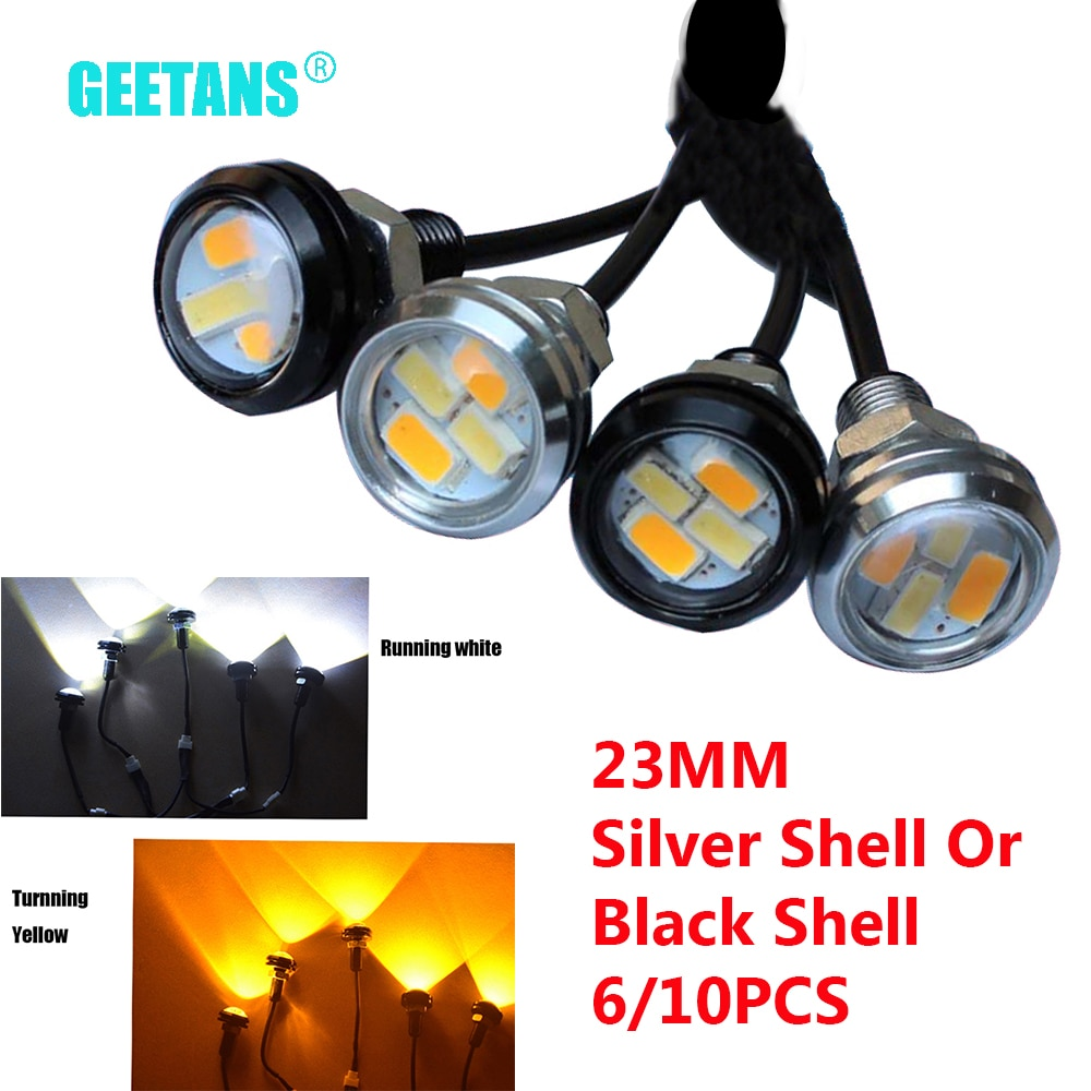 GEETANS 23mm Car styling LED DRL Eagle Eye 4-SMD 12V 5W Daytime Running lights Warning Fog light With Turning Signal light CJ