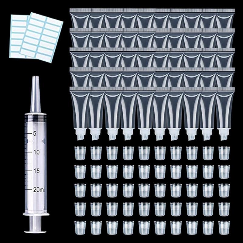50pcs Lip Gloss Balm Tube Fillable Empty Tube Transparent Cosmetic Container Tube Transparent Lip Gloss Tube