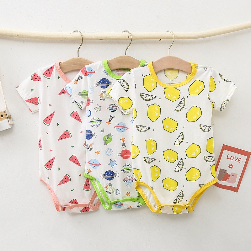 2020 new baby girls cotton romper sling robe and boys print jumpsuit for newborn children kids summer clothes Baby Pure Cotton Clothes Baby Jumpsuit Spring and Summer Boys and Girls Thin Short-sleeved Romper Newborn Triangle Romper