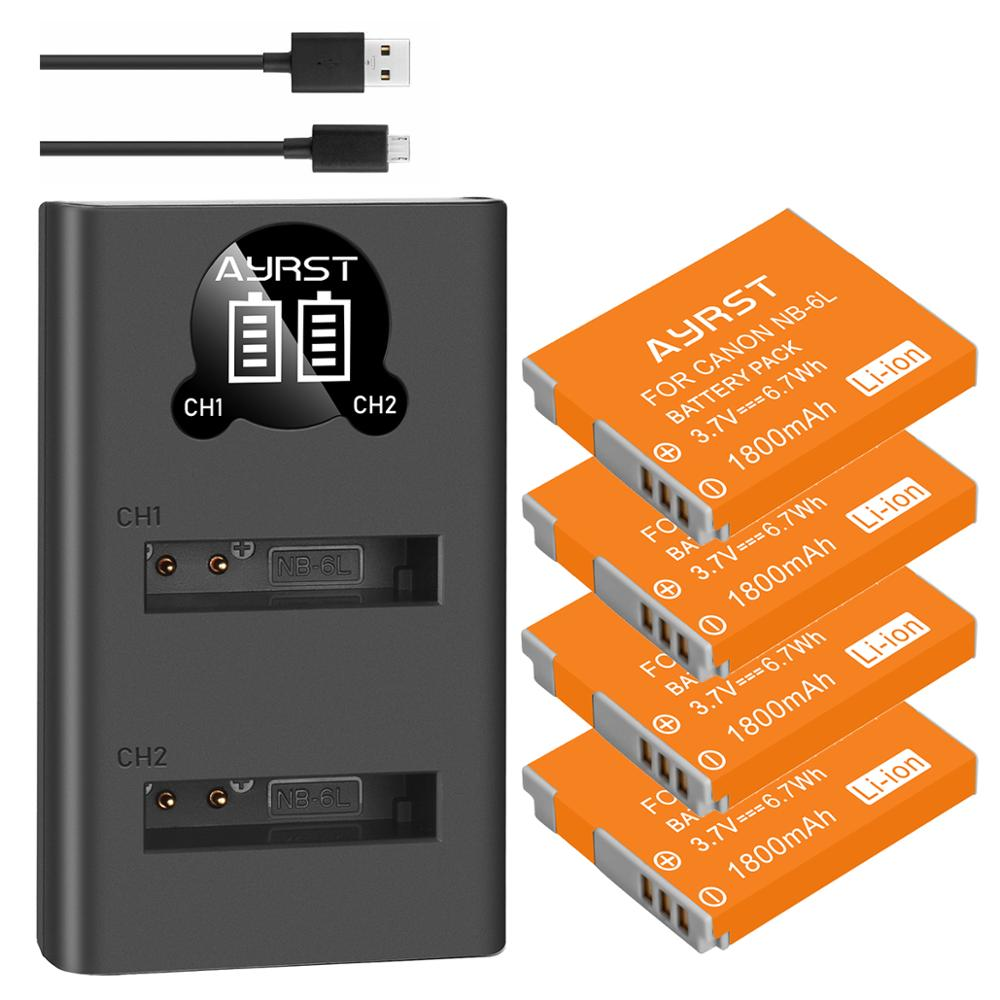 1800mAh NB-6LH NB-6L Cámara batería + cargador USB para Canon PowerShot D10...