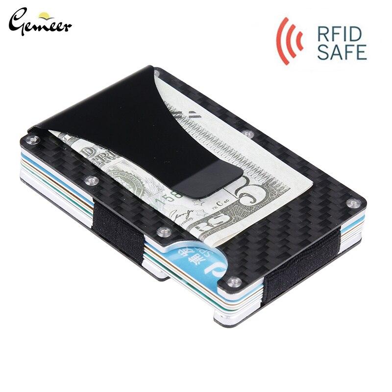 Gemeer карбоновый кредитный держатель для Карт RFID несканированный металлический кошелек мужской деловой держатель для карт Carteira Masculina Billetera