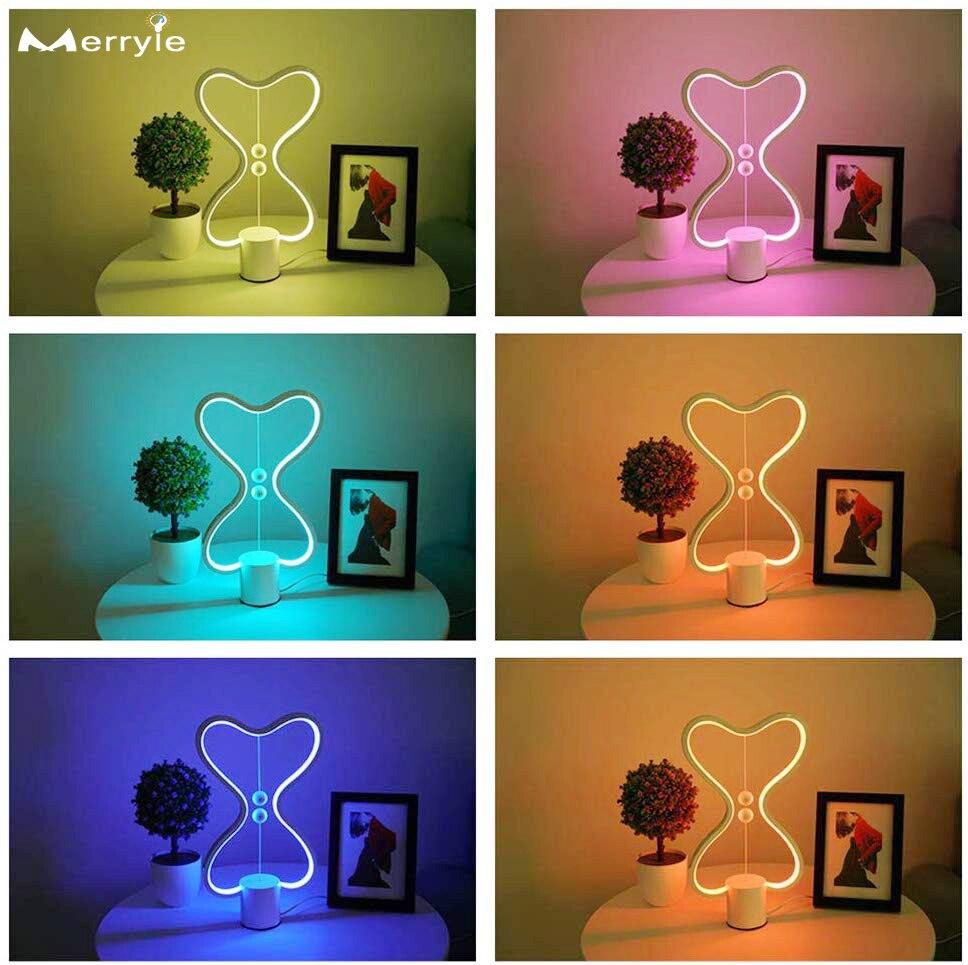 مصباح LED يعمل بالطاقة USB للتوازن ، 7 ألوان ، إضاءة زخرفية داخلية ، مثالي لغرفة النوم أو غرفة المعيشة أو المكتب.