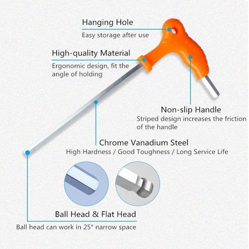 2,5 MM-14 MM muleta de llave plana hexágono zócalo hexagonal de 7 formas con mango cabeza de bola de ahorro de trabajo hexágono tipo T