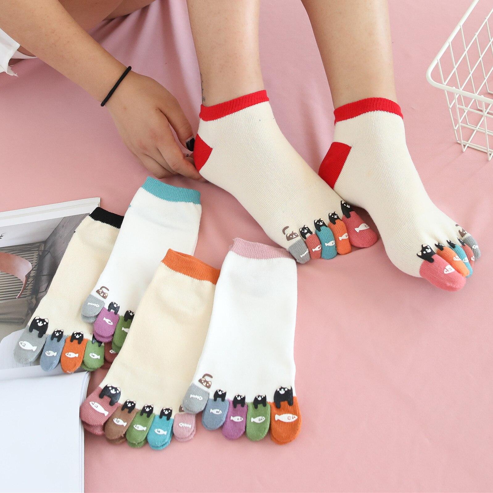 Japanese&Korean Style Womens Five Toe Socks Pure Cotton Split Cute Cartoon Women