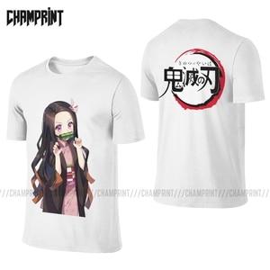Men T-Shirts Nezuko Cotton Tees Short Sleeve Front Back Demon Slayer Kimetsu No Yaiba Kamado Anime Two Sides T Shirt Plus Size