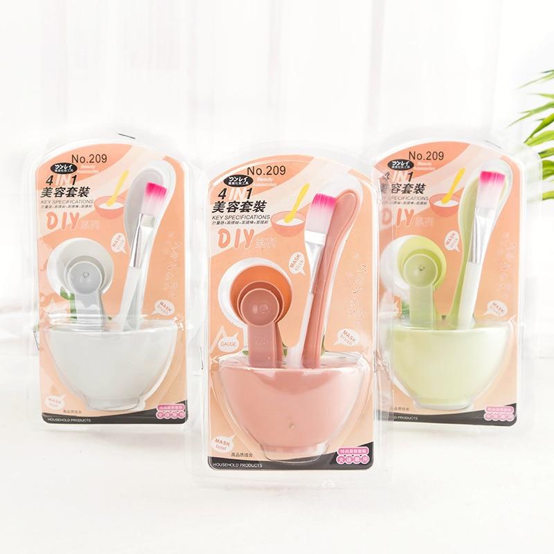 4 In1 DIY Face Mask Bowl Facial Beauty Stir Stick Mask Brush Measuring Spoon Women Beauty Set Makeup