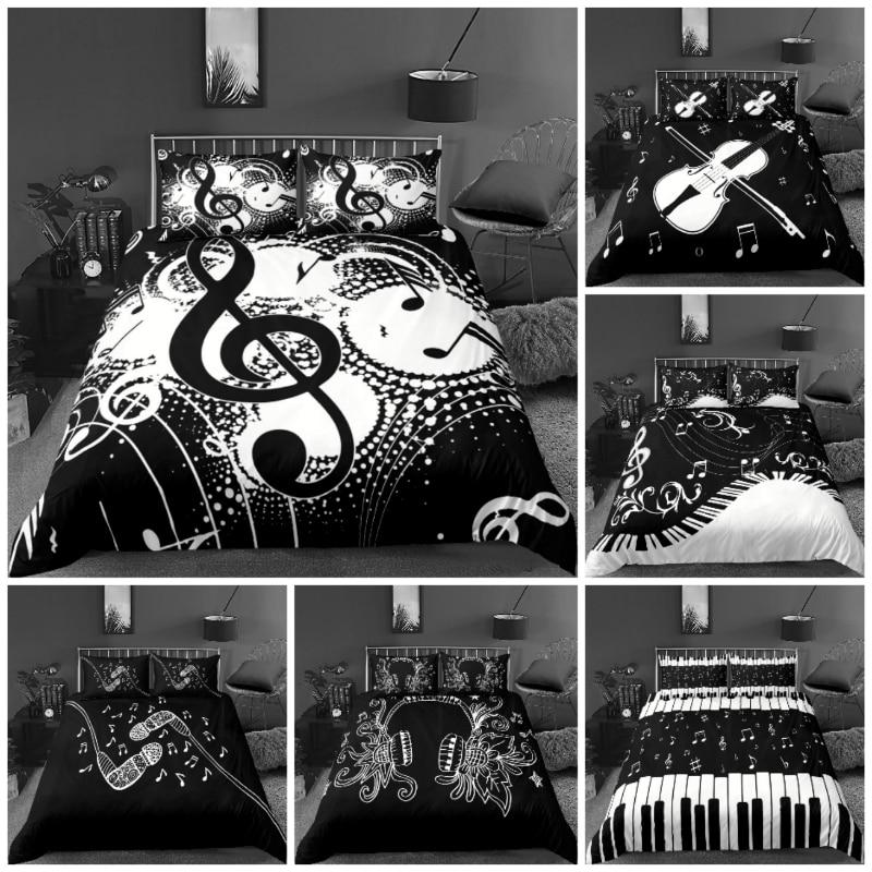 2021Hot نمط ثلاثية الأبعاد الطباعة الرقمية الموسيقى مجموعة الفراش البوليستر 1 حاف الغطاء + 1/2 سادات السرير في حقيبة الولايات المتحدة/الاتحاد الأ...