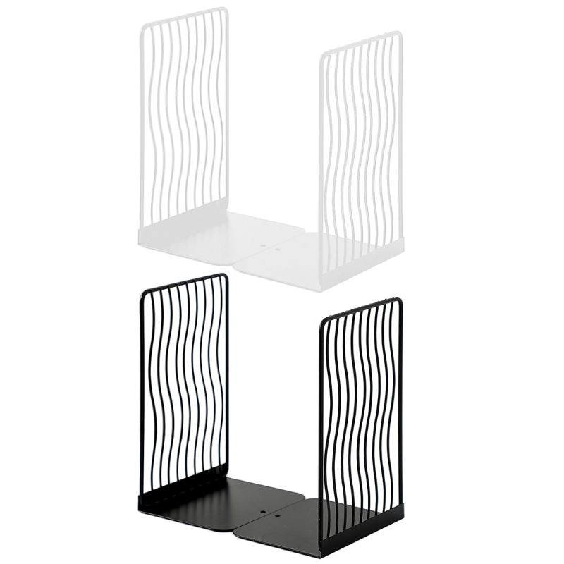 1 Pair Nordic Iron Bookends Book Stand Support Desktop Office Magazine Organizer Non Slip Rack Shelf Holder