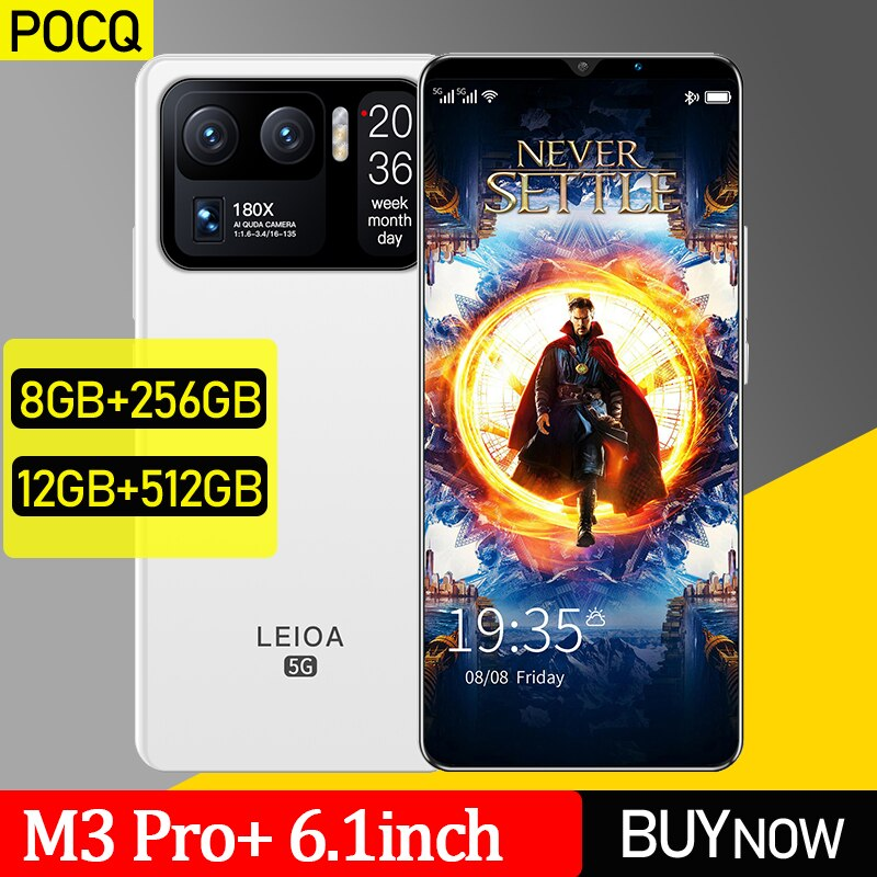 [World Premiere] Global Version POCQ M3 Pro+ 5G Radmi Mi Smartphone 6.1 Inch HD Display 4800mAh 48MP Rear Camera Android Phone