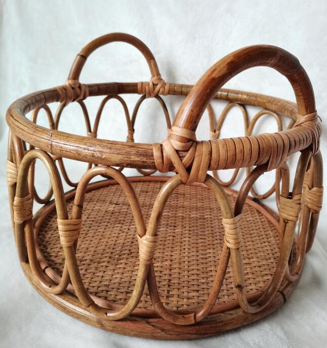 Baby Chair Bed Boy Girl Newborn Photo Props Furniture Accessories Round Vintage Woven Rattan Basket  Background Gift For Child