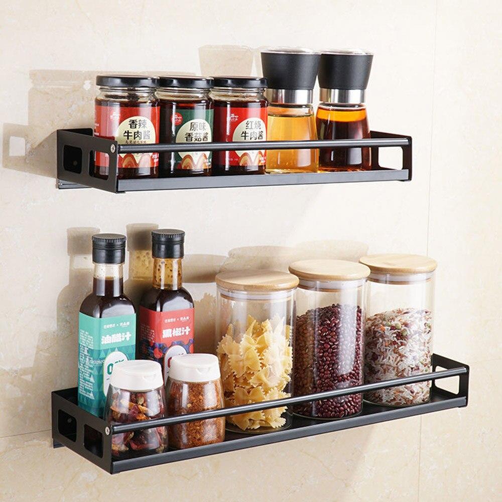 Organizador de cocina de estilo nórdico moderno, soporte de montaje en pared, estante de almacenamiento, tarros de especias, estante de gabinete, suministros, estante de baño