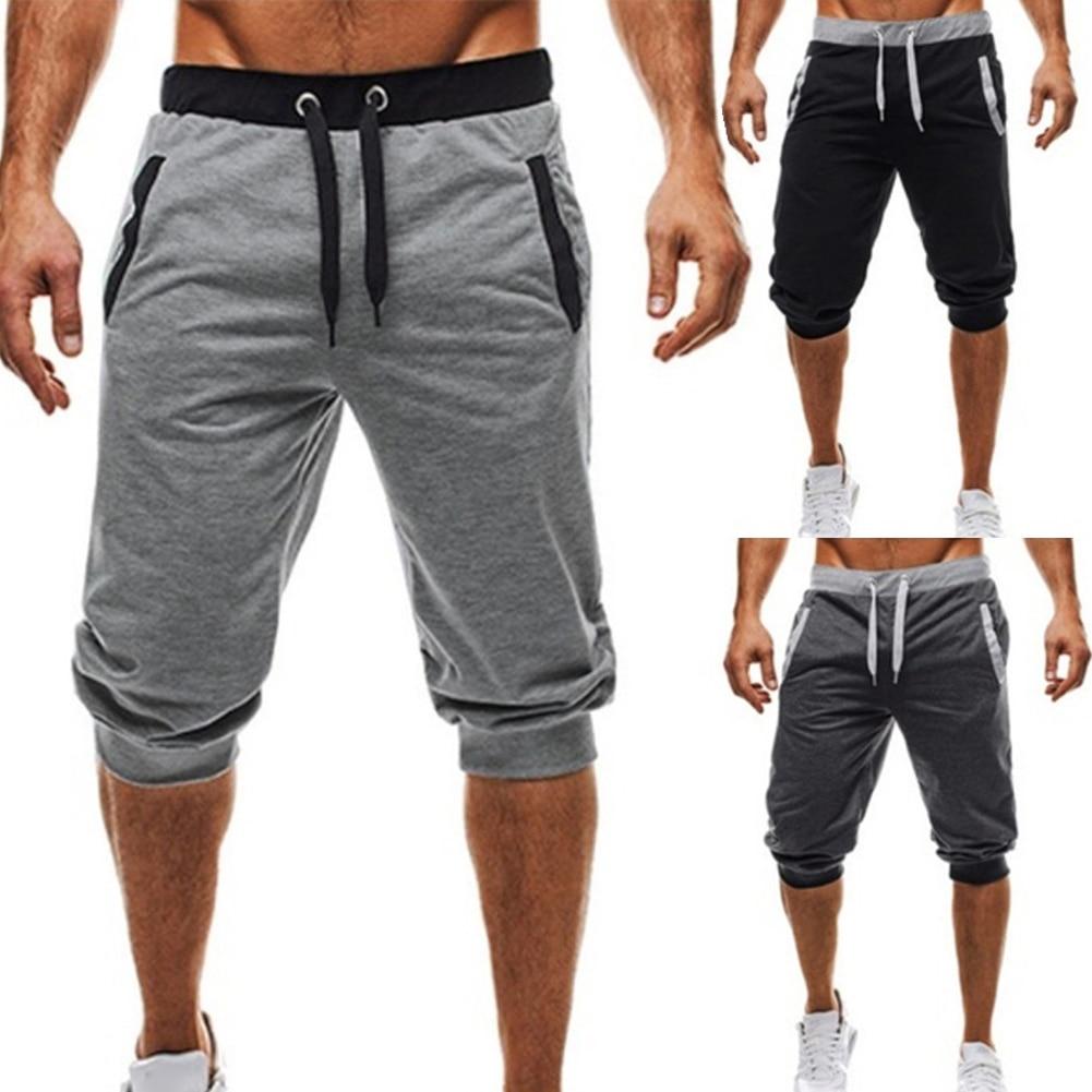 Summer men Leisure Men Knee Length Shorts Color Patchwork Joggers Short Sweatpants Trousers Men Bermuda Shorts roupa masculina