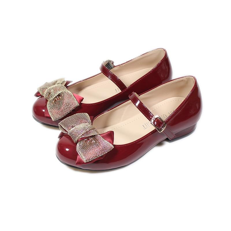جديد بنات الأميرة أحذية الطفل موضة القوس طفل طالب حفلة حذاء للرقص الاطفال منخفضة الكعب أحذية من الجلد الوردي الأحمر EUR 25-34