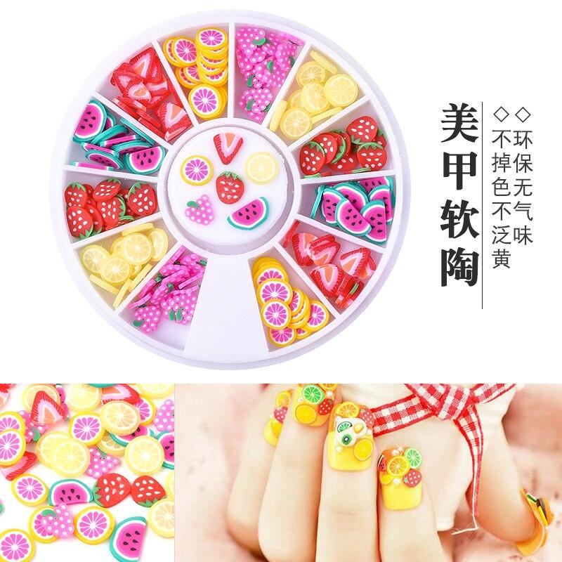 1 caja de 12 discos de celosía mezclados con adornos de cerámica blanda, fruta bonita, decoración de manicura de varios estilos