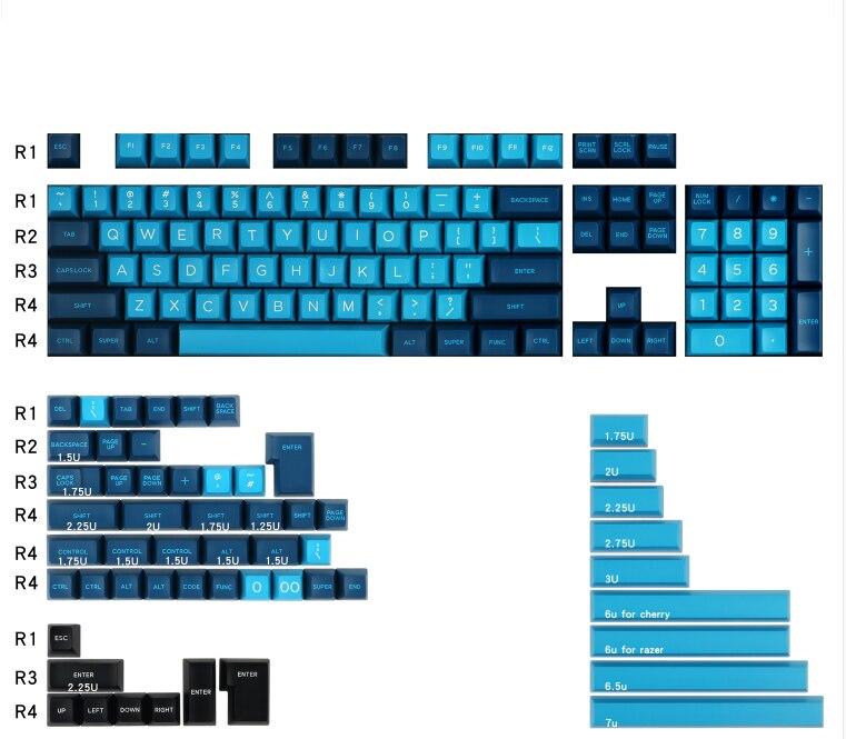 لوحة مفاتيح من Domiikey موديل Bluewave مزدوجة اللون مزودة بلوحة مفاتيح ميكانيكية 159 مفاتيح للوحة المفاتيح