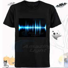 Party LED light up el panel t-shirt Muziek rhythm sound activated flashing el panel t-shirt