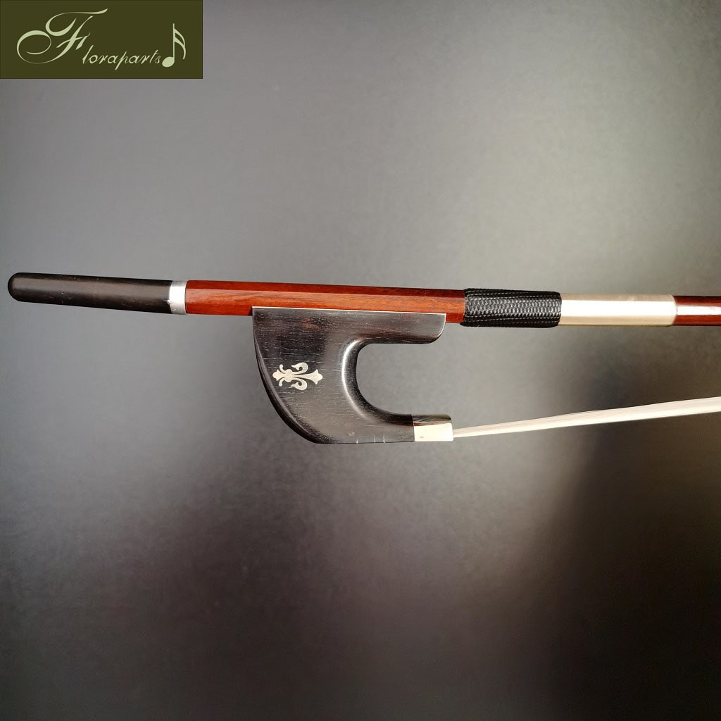 Floraparts 4/4 Germany Bass Bow High Quality Brazilwood Round Stick Ebony Frog With Flower Nickel Silver Parts FPZ026 enlarge