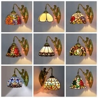 tiffany wall lamp stained glass european style wall lamp aisle corridor balcony bedside table mirror front lighting led
