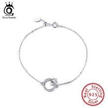 ORSA JEWELS Enternity Love Bracelet CZ 925 Sterling Silver Chain Bangles Bracelets for Women Silver 925 Wrist  Jewelry SB71