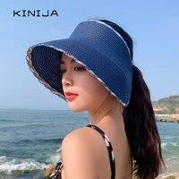 2021 new straw hat summer foldable empty sun hat fishing uv protection visor cap korean solid straw weaving large brim beach hat