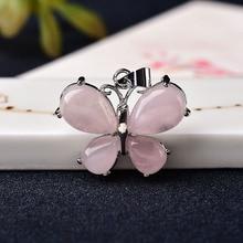 Pendentif en cristal naturel améthyste Rose Quartz bijoux minéraux forme de papillon forme de goutte ornements pour les femmes Reiki bijoux cadeau