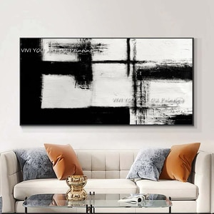 Frameless Abstract Simple black and white Color Block Canvas Oil Painting Handmade Home Wall Art Living Room Office Renovation