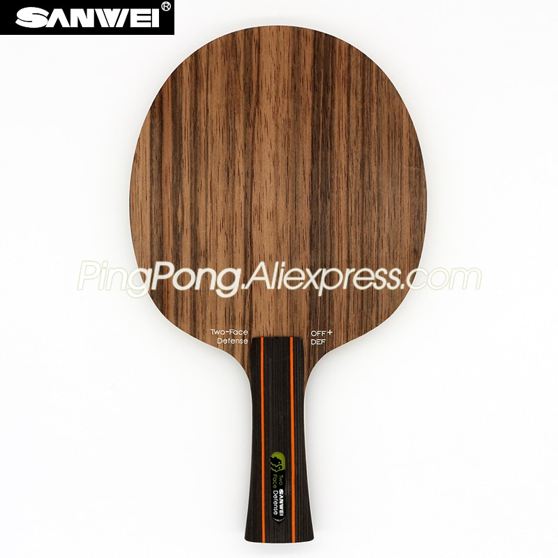 Sanwei dois rosto/2 face (ataque/defesa, ébano/hinoki) sanwei lâmina de tênis de mesa raquete de defesa ping pong bat/paddle