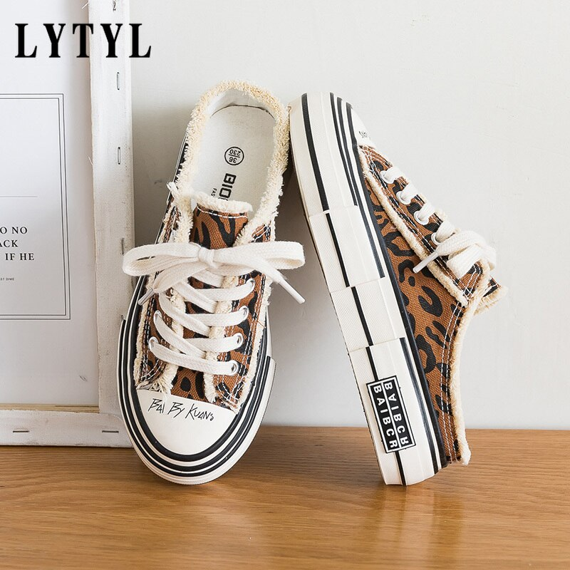Woman Fashion Shoes Canvas Vulcanized Gumshoes Zebra Cow Print No Back Sneakers Chic Stylish Casual