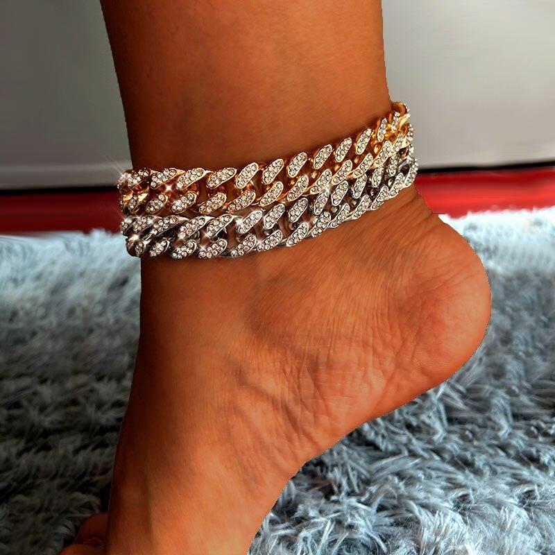 Flatfoosie Hip Hop Eslabón cubano pulsera para las mujeres de plata de oro Color brillante helado de diamantes de imitación pulsera de pie joyería para pies